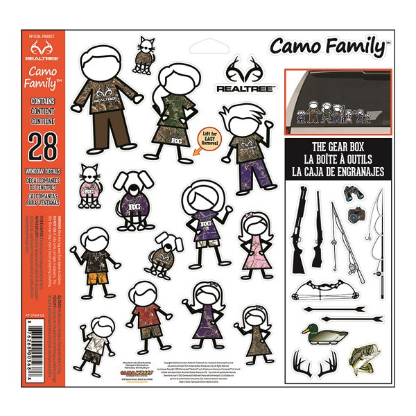 "CamoWraps 28 Pack of Realtree Camo Family Decal Set with Gear Box. 12"" x 11.75"" RT-CFAM-LG"