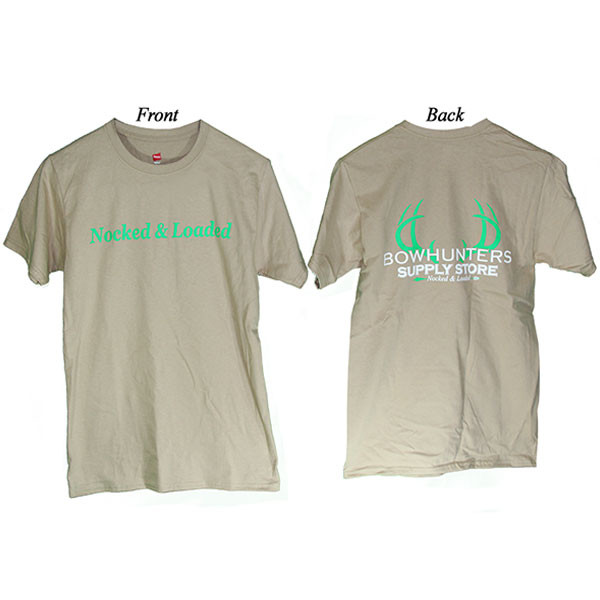 Bowhunters Supply Store Tee Pebble/Green Large