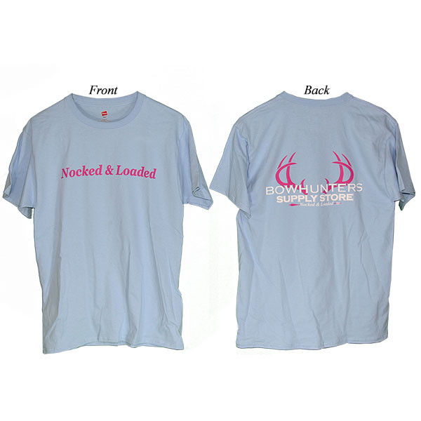 Bowhunters Supply Store Tee Light Blue/Pink Medium