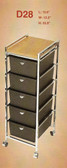 Pibbs D28 5 Drawer Cart w/Metal Frame w/Topper