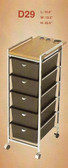 Pibbs D29 5 Drawer Cart with Metal Frame with Topper with Appliance Holders