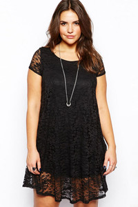 Black Lace Overlay Plus Mini Dress