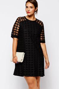 Black Netty Mesh Overlay Plus Size Mini Dress