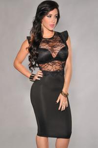 Plus Size Black Sheer Lace Evening Dress