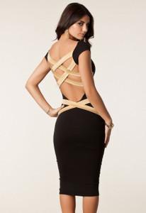 Plus Size Black Round Neck Strappy Back Skintight Midi Dress