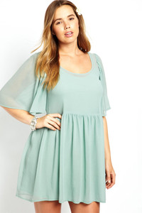 Mint Angel Sleeve Mini Plus size Smock Dress
