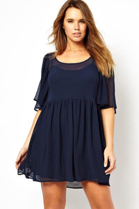 Navy Angel Sleeve Mini Plus size Smock Dress