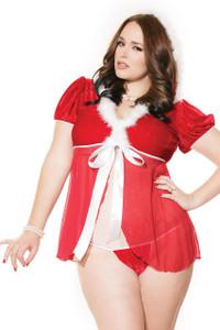 White Plus Fur Trim Mesh Splice Hooded Santa Babydoll Set