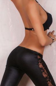 Black Sexy Legging Pants Wet Look Black Plus