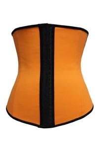 Plus Size Orange 4 Steel Bones Latex Under Bust Corset