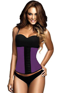 Plus Size Purple 9 Steel Bones Latex Under Bust Corset