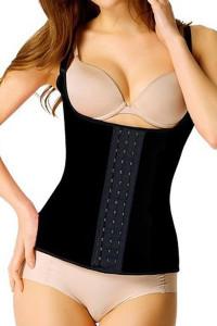 Plus Size Black Steel Boned Latex Waist Trainer Vest
