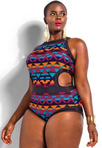 Purple Sexy Cutout Monokini Plus Size Swimwear