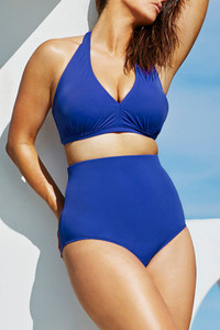 Blue Solid Blue High-waisted Halter Bikini Swimsuit