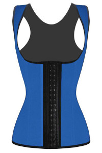 Plus Size Blue Waist Cincher 4 Steel Bones Underbust Corset