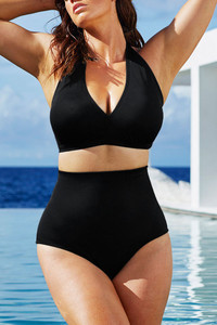 Black Solid Black High-waisted Halter Bikini Swimsuit