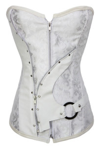 Plus Size White Steel Bone Brocade Steampunk Corset Set