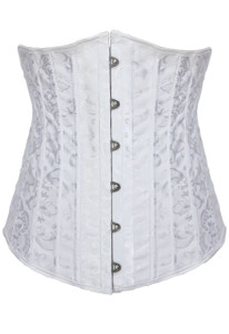 Plus Size White Jacquard Underbust Corset with 24 Steel Bones