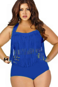 Blue Fringed High-waist Swimwear Plus Size