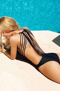 Plus Size Sexy Black One-piece Swimwear with Strings