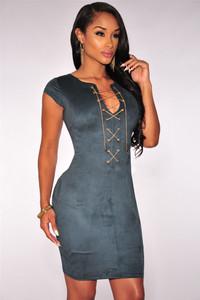 Blue Faux Suede Crisscross Neck Mini Dress