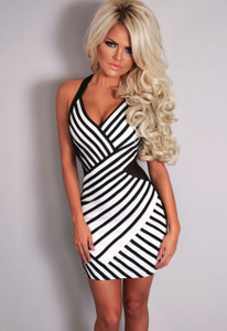 Black and White Mesh Halterneck Dress