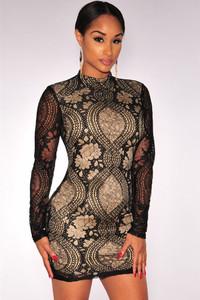 Black Mock Neck Lace Mini Dress