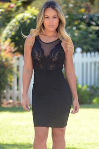 Black Sleeveless Lace Mesh Flirt Mini Dress
