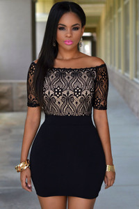 Black Lace Top Off Shoulder Mini Dress