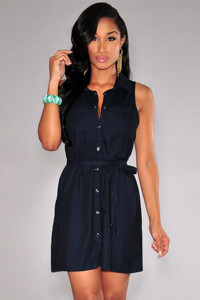 Black Denim Button Down Collared Belted Shirt Dress