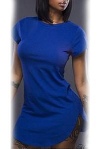 Blue Side Slit Mini T-shirt Dress
