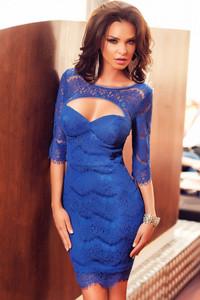 Blue Faddish Cutout Sleeved Eyelash Lace Mini Dress