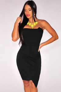 Black Origami Strapless Mini Dress