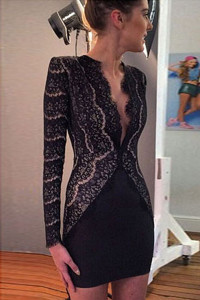 Black Lace Eyelash Nude Illusion Mini Dress