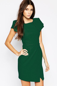 Asymmetric Pencil Dress with Origami Sleeve