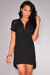 Black Button Down Short-sleeve Shirt Dress
