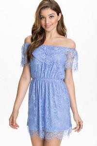 Blue Lace Off-Shoulder Mini Dress