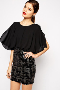 Black False Two-piece Kimono Chiffon Sleeve Sequin Mini Dress