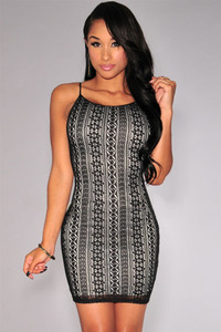 Black Nude Illusion Crochet Mini Dress