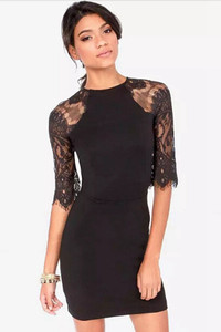 Black Lace Half Sleeve Mini Dress