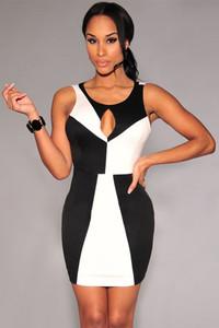 Black White Color-Block Mini Dress