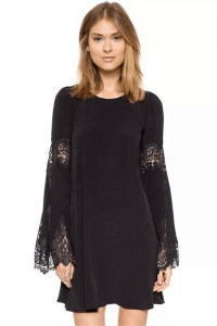 Black Flared Sleeves Chiffon Mini Dress