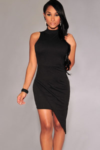 Black Asymmetrical Mock Neck Mini Dress