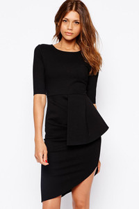 Black Gather Side Asymmetrical Mini Dress