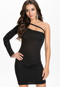 Asymmetric Neckline Rhinestone One Sleeve Black Mini Dress
