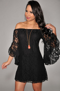 Black Lace Off-The-Shoulder Mini Dress
