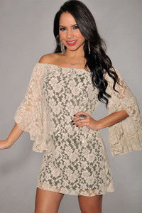 Apricot Lace Off-The-Shoulder Mini Dress