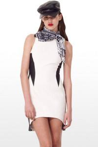 Classic Black White Patchwork Sleeveless Mini Dress