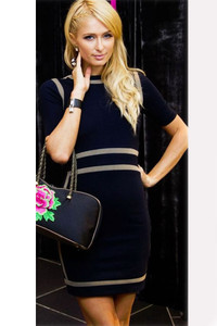 Black Bodycon Mini Dress with Contrast Patchwork
