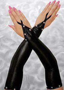 Black Metallic Buttons Gloves